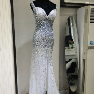 Sexy Formal Dresses 2017 Evening Dresses  White Trumpet / Mermaid Floor-Length / Long V-Neck Sleeveless Backless Beading Sequins Rhinestone