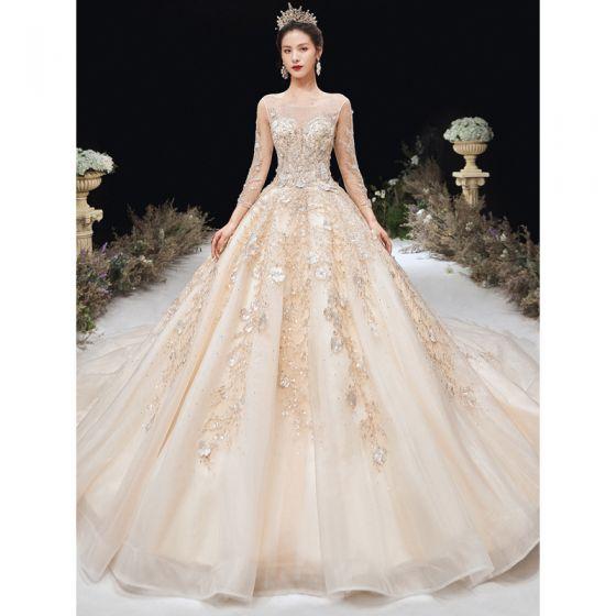 High End Champagner Brautkleider / Hochzeitskleider 2020 A Linie Rundhalsausschnitt Perlenstickerei Strass Spitze Blumen Lange Ärmel Rückenfreies Kathedrale Schleppe