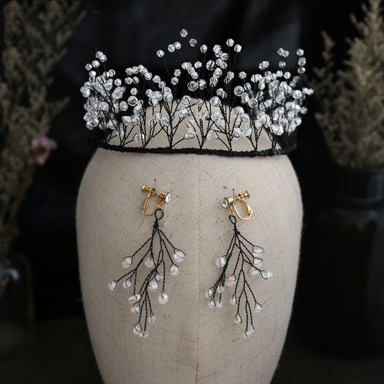 Vintage Czarne Biżuteria Ślubna 2019 Metal Kryształ Tiara Kolczyki Ślub Akcesoria