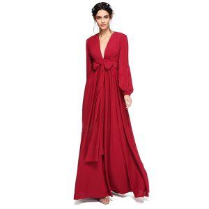 Simple Sexy Rouge Robe De Soirée 2020 Princesse Longue Col v profond Manches Longues Gonflée Cocktail Soirée Robe De Ceremonie