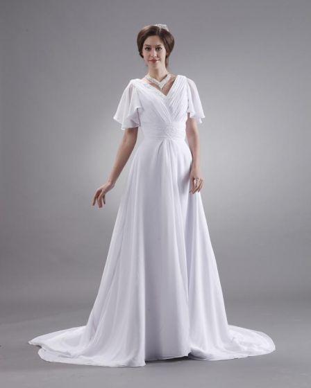 Volants V Neck Court A Manches Courtes, Plus La Taille Robe De Mariage Nuptiale Robe