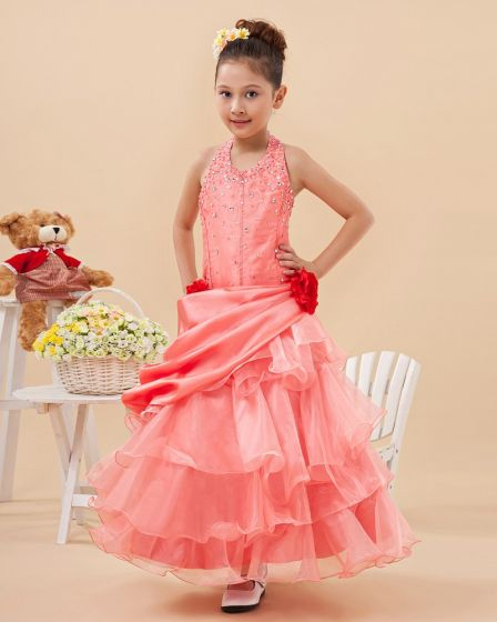 Angel Taffeta Yarn Halter Ruffle Floor Length Junior Bridesmaid Dresses
