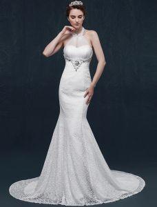 Meerjungfrau Halfter Perlen Perle Rhinestone Kristallspitze Hochzeitskleid