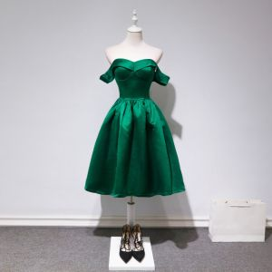 Simple Vert Foncé Robe De Fete 2018 Princesse De l'épaule Manches Courtes Mi-Longues Volants Dos Nu Robe De Ceremonie