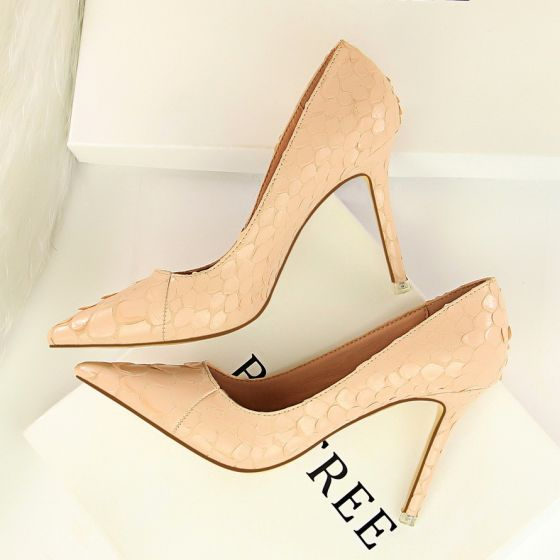 Amazing / Unique Blushing Pink Prom Womens Shoes 2018 Snakeskin Print 9 cm Stiletto Heels Pointed Toe Pumps