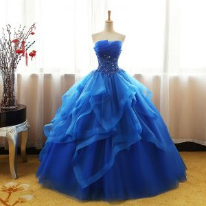 Chic / Beautiful Royal Blue Prom Dresses 2017 Ball Gown Sweetheart Sleeveless Appliques Lace Sequins Rhinestone Floor-Length / Long Cascading Ruffles Backless Formal Dresses