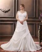 Satin Perlage V Tribunal De Cou Plus La Taille Robe De Mariage Nuptiale Robe