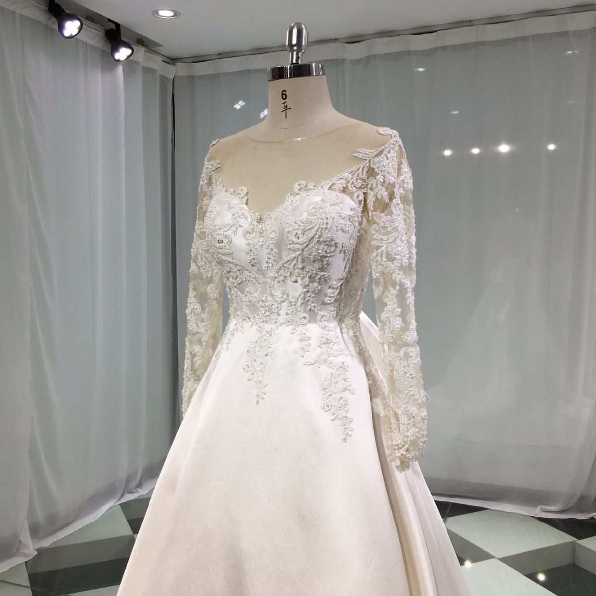 Elegant Ivory Satin See-through Wedding Dresses 2019 A-Line / Princess Scoop Neck Pierced Long Sleeve Backless Bow Appliques Lace Beading Chapel Train Ruffle
