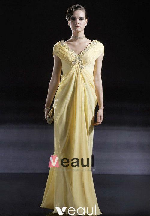 Chiffon Charmeuse Beading V Neck Floor Length Evening Dress