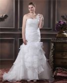 Organza One Shoulder Beading Sheath Sweep Plus Size Wedding Dresses