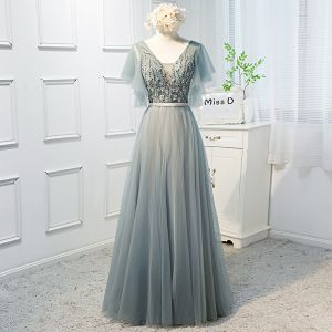 Chic / Beautiful Sage Green Prom Dresses 2019 A-Line / Princess V-Neck Beading Sequins Lace Flower Short Sleeve Backless Bow Floor-Length / Long Formal Dresses