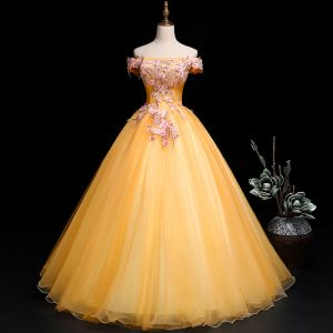 Chic / Beautiful Gold Prom Dresses 2019 A-Line / Princess Off-The-Shoulder Pearl Rhinestone Lace Flower Short Sleeve Backless Floor-Length / Long Formal Dresses