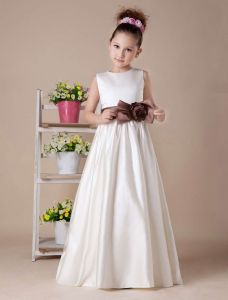 White Sleeveless Bow Sash Satin Flower Girl Dress
