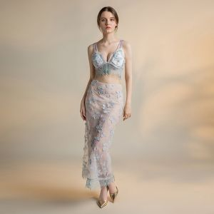 2 Stück Ivory / Creme Durchsichtige Abendkleider 2018 Meerjungfrau Schultern Ärmellos Applikationen Spitze Quaste Perlenstickerei Knöchellänge Rüschen Rückenfreies Festliche Kleider