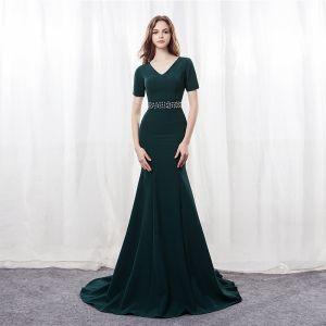 Modern / Fashion Dark Green Evening Dresses  2018 Trumpet / Mermaid V-Neck Short Sleeve Rhinestone Sash Sweep Train Formal Dresses