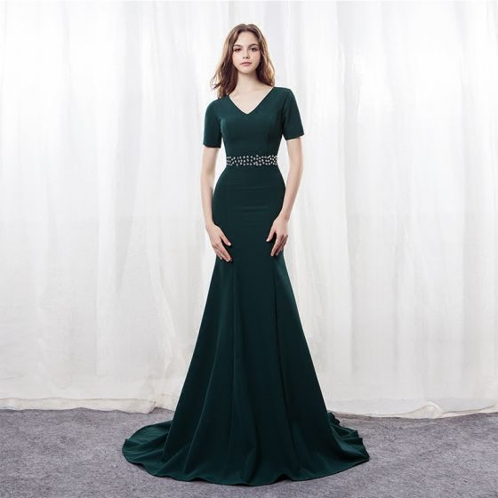 Modern / Fashion Dark Green Evening Dresses  2018 Trumpet / Mermaid V-Neck Short Sleeve Rhinestone Sash Sweep Train Formal Dresses