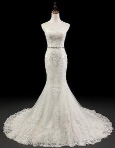 Charmantes Robe De Mariage Sirène Perles Appliques En Cristal Guillotine Robe De Mariée