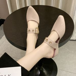 Affordable Modest / Simple Beige Casual Womens Sandals 2020 Buckle Pointed Toe Flat Sandals