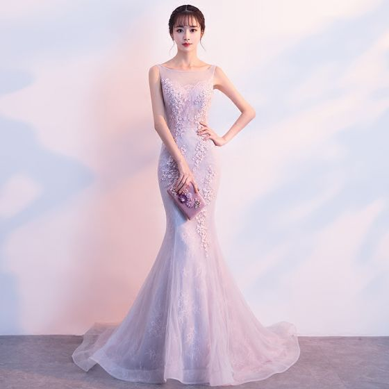 Chic / Beautiful Blushing Pink Evening Dresses  2019 Trumpet / Mermaid Scoop Neck Sequins Lace Flower Sleeveless Sweep Train Formal Dresses