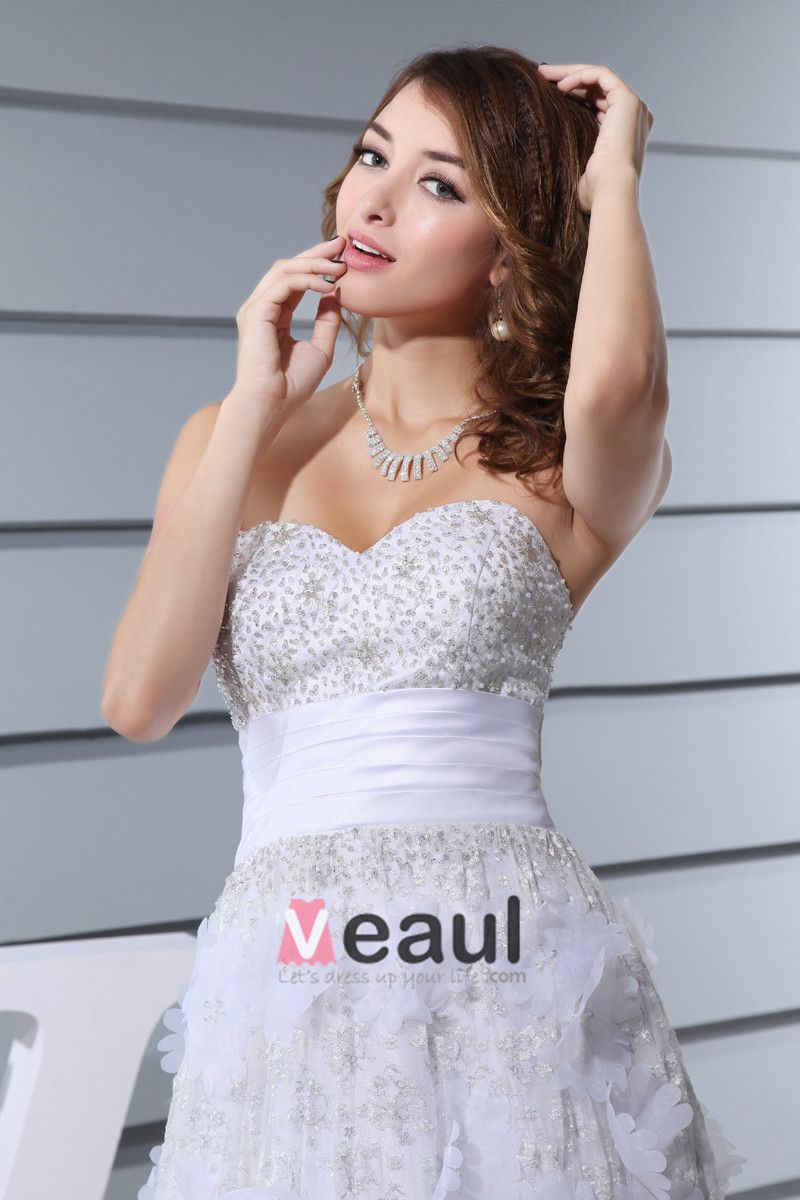 Sweetheart Sleeveless Backless Applique Beading Floor Length Lace Satin Silk Woman Empire Wedding Dress