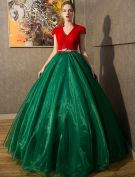 Vintage Prom Dresses 2016 V-neck Red Tulle Dark Green Organza Long Dress With Cap Sleeves