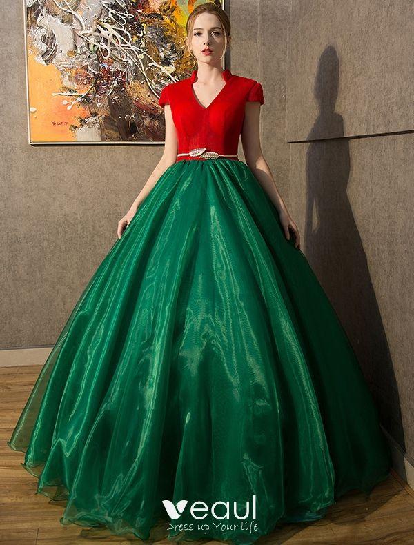 Vintage Prom Dresses 2016 V-neck Red