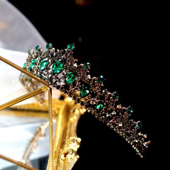 Vintage / Retro Baroque Gold Tiara Bridal Hair Accessories 2020 Alloy Dark Green Rhinestone Accessories