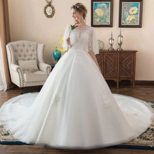 Chic / Beautiful Ivory Wedding Dresses 2018 Ball Gown Appliques Scoop Neck Backless 1/2 Sleeves Royal Train Wedding