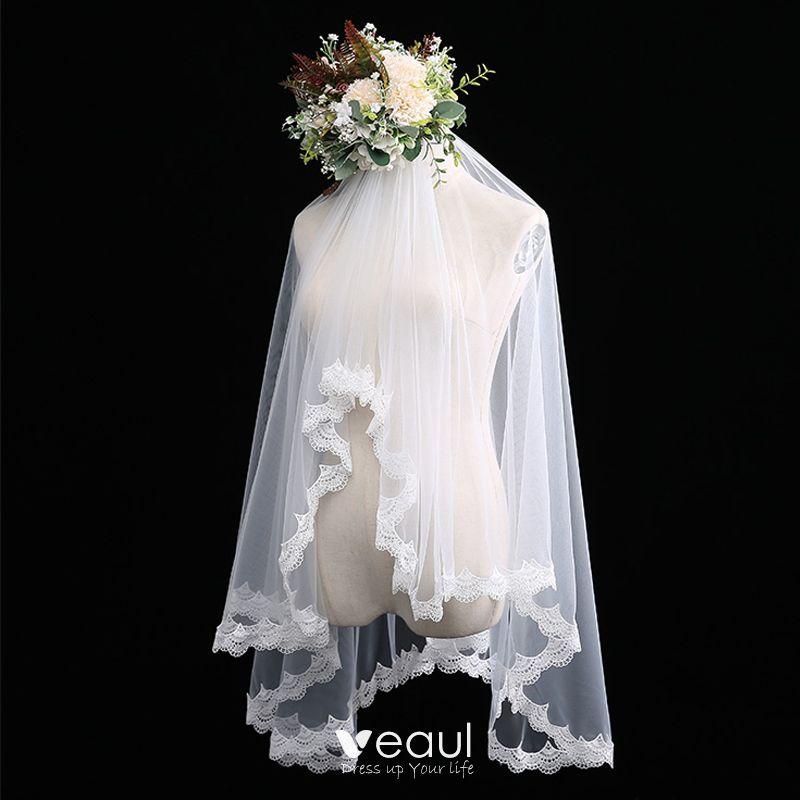 Modest / Simple White Wedding Veils Lace Short Chiffon Wedding Accessories 2019