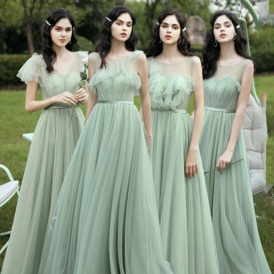 Affordable Mint Green See-through Bridesmaid Dresses 2020 A-Line / Princess Sleeveless Backless Sash Floor-Length / Long Ruffle
