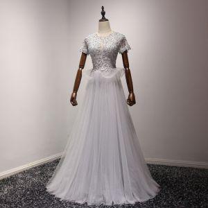 Chic / Belle Argenté Robe De Soirée 2017 Princesse Tulle U-Cou Appliques Dos Nu Perlage Soirée Robe De Ceremonie