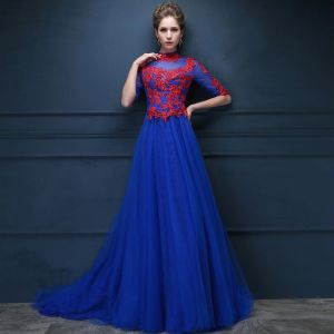Chinese style Royal Blue See-through Evening Dresses  2018 Empire High Neck 1/2 Sleeves Appliques Lace Rhinestone Beading Court Train Ruffle Formal Dresses