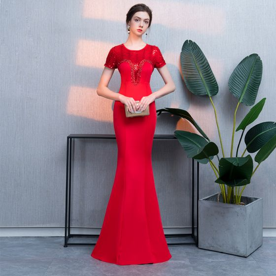 Chic / Beautiful Red Evening Dresses  2019 Trumpet / Mermaid Crystal Sequins Scoop Neck Floor-Length / Long Short Sleeve Formal Dresses