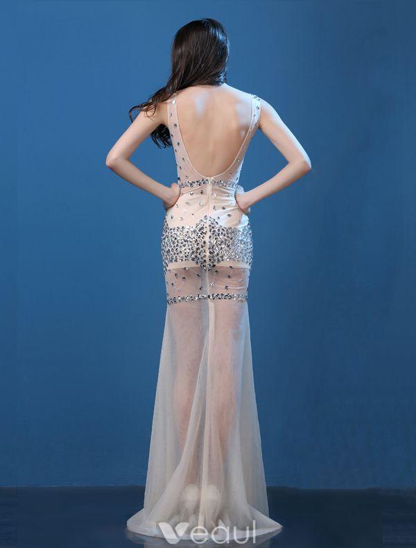 Sparkly Sexy Evening Dresses 2016 Mermaid Deep V-neck Sleeveless Beading Crystal Rhinestones Dress