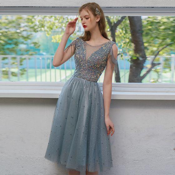 Brillante Azul Cielo Vestidos de graduación 2021 A-Line / Princess Scoop Escote Rebordear Tassel Lentejuelas Sin Mangas Sin Espalda Té De Longitud Noche Vestidos Formales