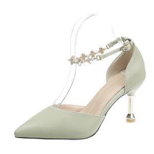 Mode Vert Cendré Rendez-vous Chaussures Femmes 2020 Bride Cheville 8 cm Talons Aiguilles À Bout Pointu Talons