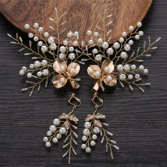 Chic / Beautiful Gold Bridal Hair Accessories 2019 Metal Beading Pearl Earrings Headpieces Wedding Accessories