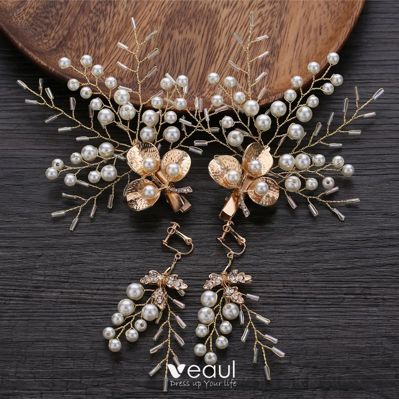 Chic Beautiful Gold Bridal Hair Accessories 2019 Metal Beading Pearl Earrings Headpieces Wedding