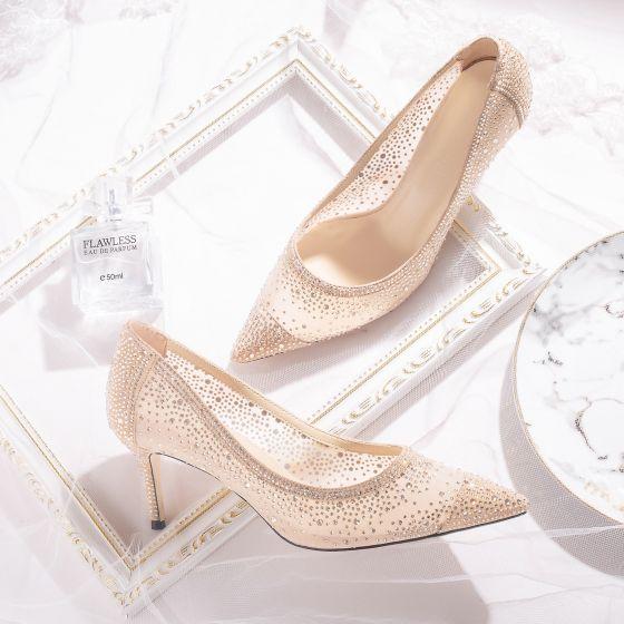 Charmant Champagne En Dentelle Chaussure De Mariée 2020 Cuir Faux Diamant 7 cm Talons Aiguilles À Bout Pointu Mariage Escarpins