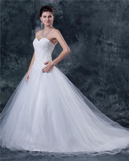 Tiul Satyna Kochanie Zroszony Kaplicy Ślubnej Suknia Balowa Suknie Ślubne Sukienki Ślubne