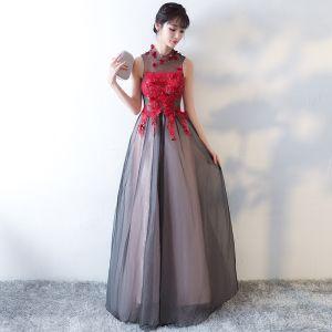 Elegant Black Prom Dresses 2017 A-Line / Princess High Neck Sleeveless Strapless Appliques Flower Crystal Floor-Length / Long Ruffle Pierced Formal Dresses