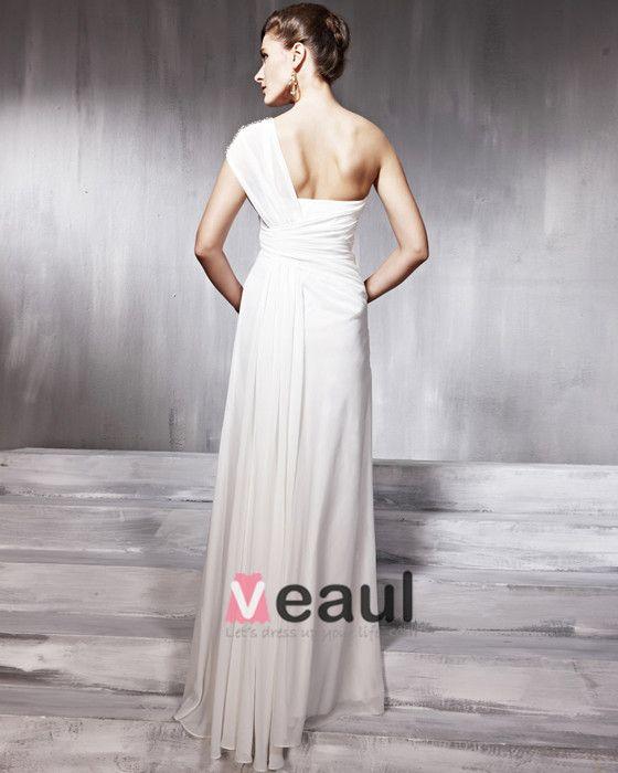 Chiffon Charmeuse Beading Layered Ruffle One Shoulder Floor Length Evening Dresses