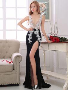 Sexy Abendkleider 2017 Tiefem V-ausschnitt Applique Weißer Spitze Mit Schwarzer Popeline Geteilt Front Kleid