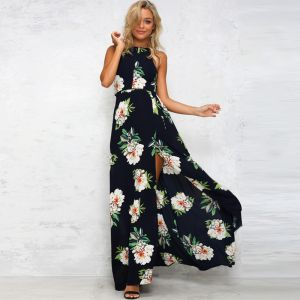 e3a4569c4a971c Modern Donkerblauwe Zomer Maxi-jurken 2018 Imperium Houder Mouwloos Het  Drukken Bloem Split Voorzijde Enkellange