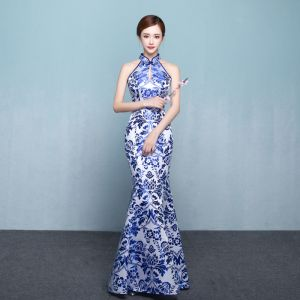 Chinese style Royal Blue Floor-Length / Long Evening Dresses  2018 High Neck Trumpet / Mermaid Charmeuse Printing Evening Party Formal Dresses