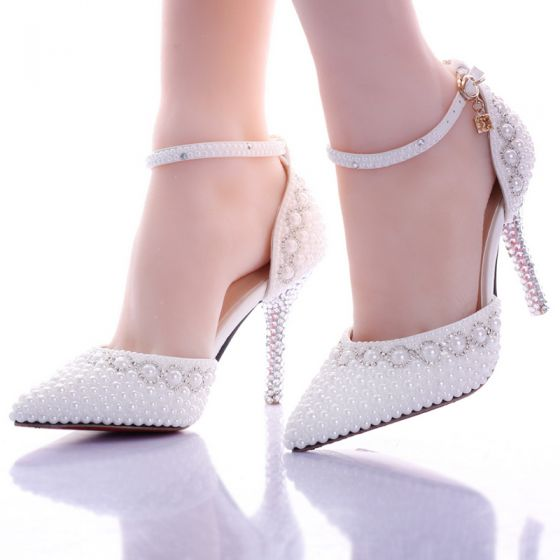 Hermoso Blanco Zapatos De Mujer 2017 Rebordear Perla Boda Zapatos de novia
