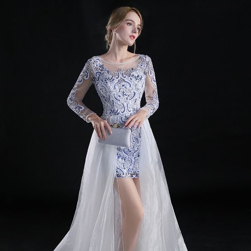 Chinese style Asymmetrical Evening Dresses  2017 A-Line / Princess Scoop Neck Long Sleeve Embroidered Flower White Organza Detachable Formal Dresses