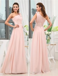 One Shoulder Corsage Ruffle Floor-length Evening Dresses