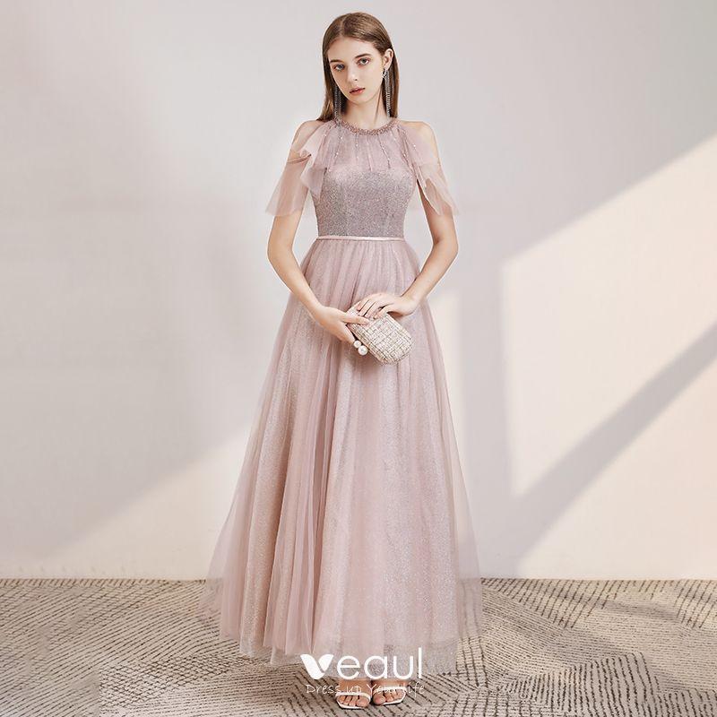 Elegante Rosa Abendkleider 2020 A Linie Rundhalsausschnitt Kurze Armel Perlenstickerei Stoffgurtel Glanz Tulle Lange Ruschen Ruckenfreies