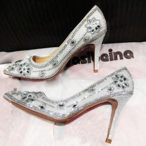 Chic / Beautiful Silver Wedding Shoes 2019 Crystal Rhinestone 9 cm Stiletto Heels Pointed Toe Wedding Pumps